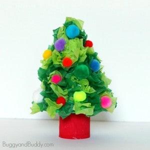 Christmas Tree Craft Using Tissue Paper