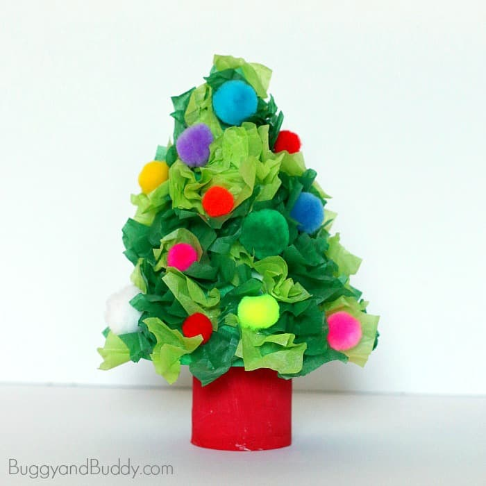 Decorate Christmas Tree On Paper : Christmas tree craft using tissue paper buggy and buddy