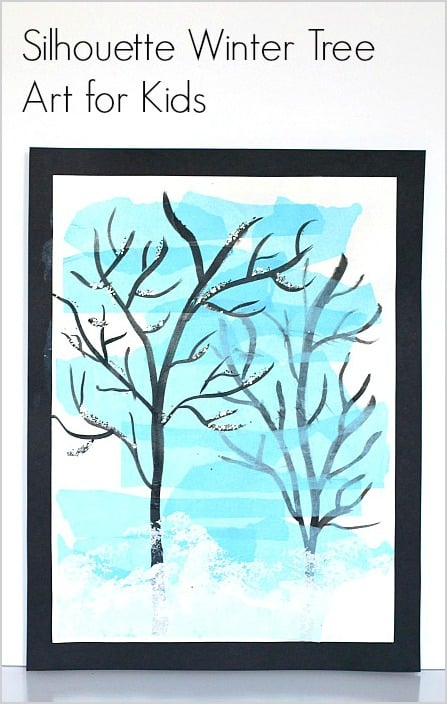 Silhouette Winter Tree Art Project for Kids: Fun art activity using india ink and tissue paper! ~ BuggyandBuddy.com