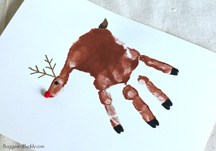 Handprint Christmas Craft Ideas Part - 40: Handprint Reindeer Craft For Kids