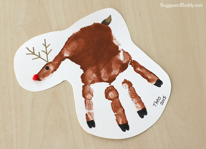 Handprint Reindeer Christmas Ornament Craft for Kids - Buggy and Buddy