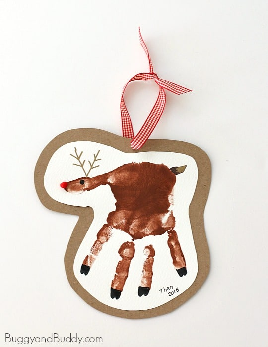 Handprint Reindeer Christmas Ornament Craft for Kids