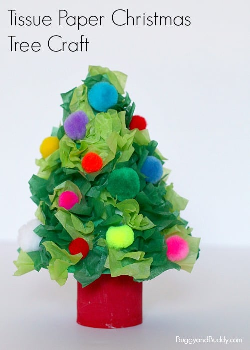 Christmas tree craft using tissue paper buggy and buddy for How to make a tree out of toilet paper rolls