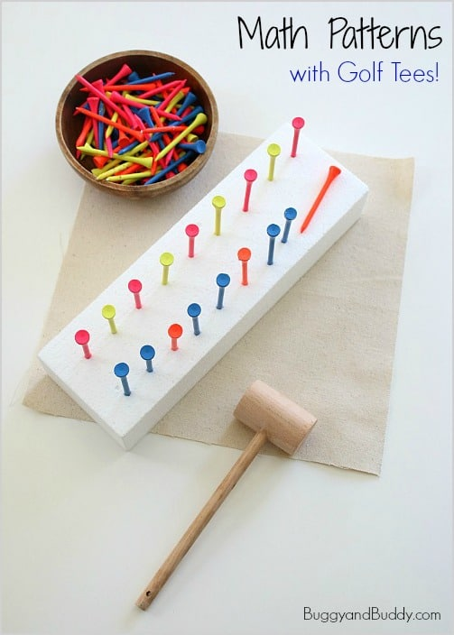 Practice Math Patterns with Golf Tees and a Mallet! (Fun fine motor preschool activity!) ~ BuggyandBuddy.com