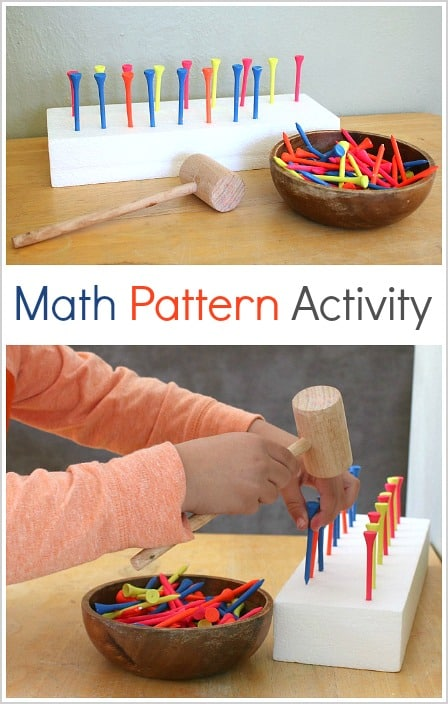 Preschool Fine Motor Math Activity: Make Patterns with Golf Tees and a Mallet!