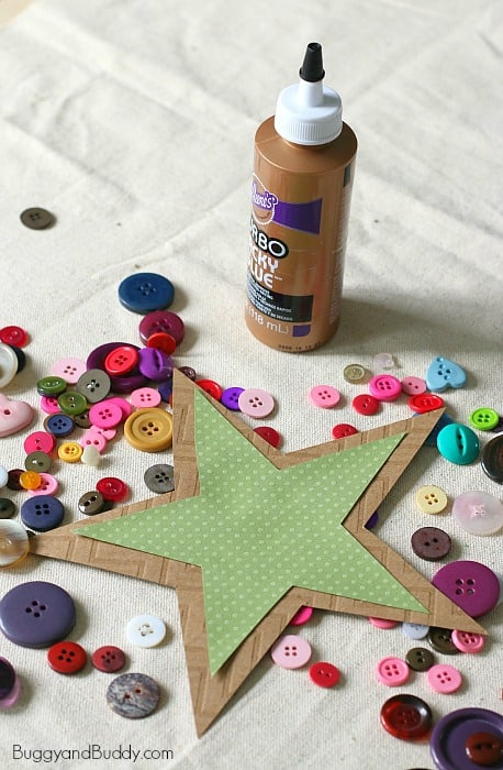 glue buttons onto your star ornament