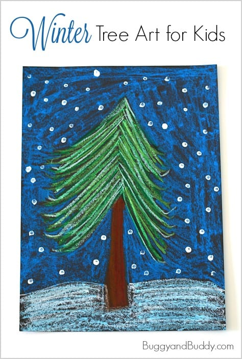 Winter Tree Art Project for Kids using oil pastels!