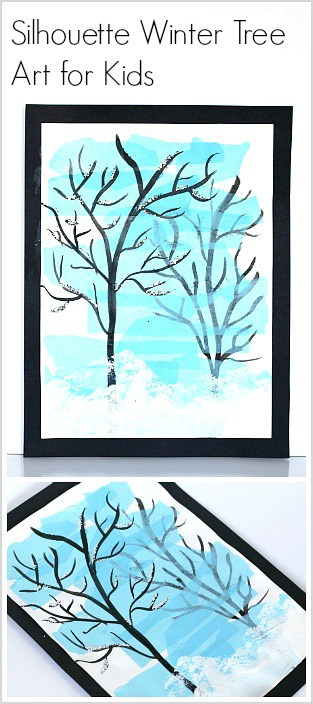 Silhouette Winter Tree Art Project for Kids