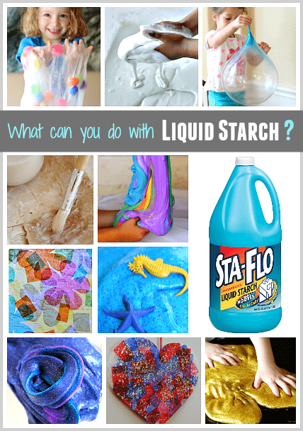 All kinds of creative ways to use liquid starch- slime recipes, sun catchers, silly putty recipe, and more!