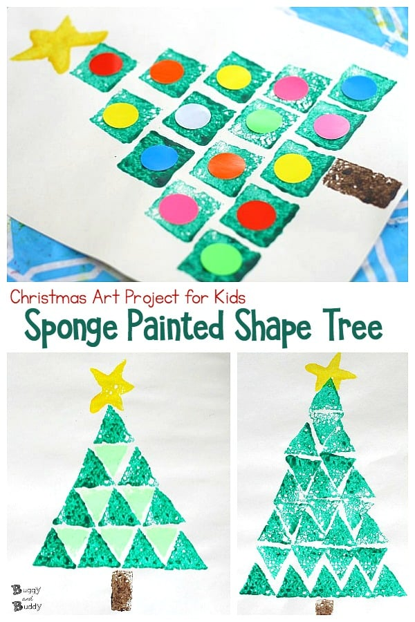christmas art project for kids: sponge stamped christmas tree using shapes