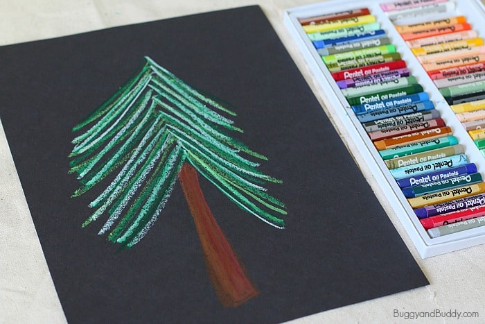 winter tree art for kids with oil pastels
