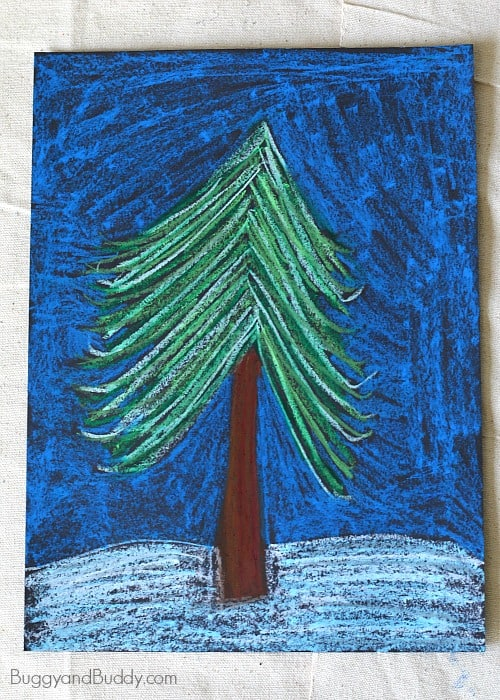 winter tree art project for kids using oil pastels