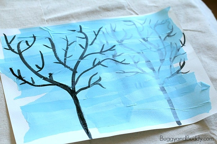 paint another winter tree right onto your artwork