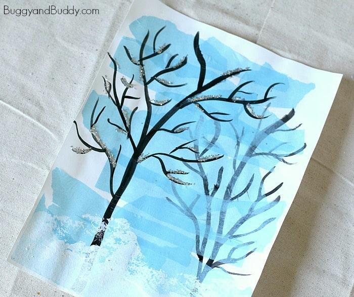 Silhouette Winter Tree Art for Kids