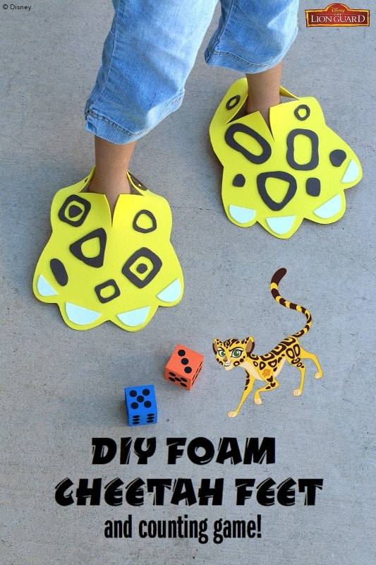 DIY Foam Cheetah Feet Craft for Kids with Counting Game- Inspired by Disney Junior's The Lion Guard