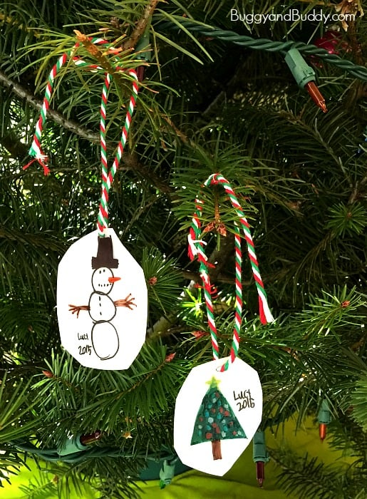 homemade ornaments using kid drawings