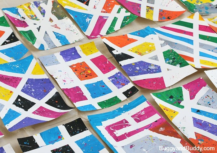 tape resist and splatter paint art project for kids