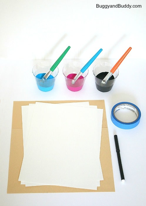 materials for inspirational splatter paint art project for kids