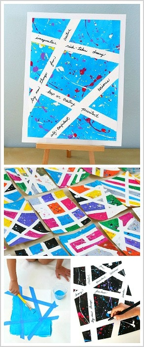 Inspirational Splatter Paint Art Project for Kids: Help children increase their creative confidence and self-esteem with this motivational art activity! ~ BuggyandBuddy.com
