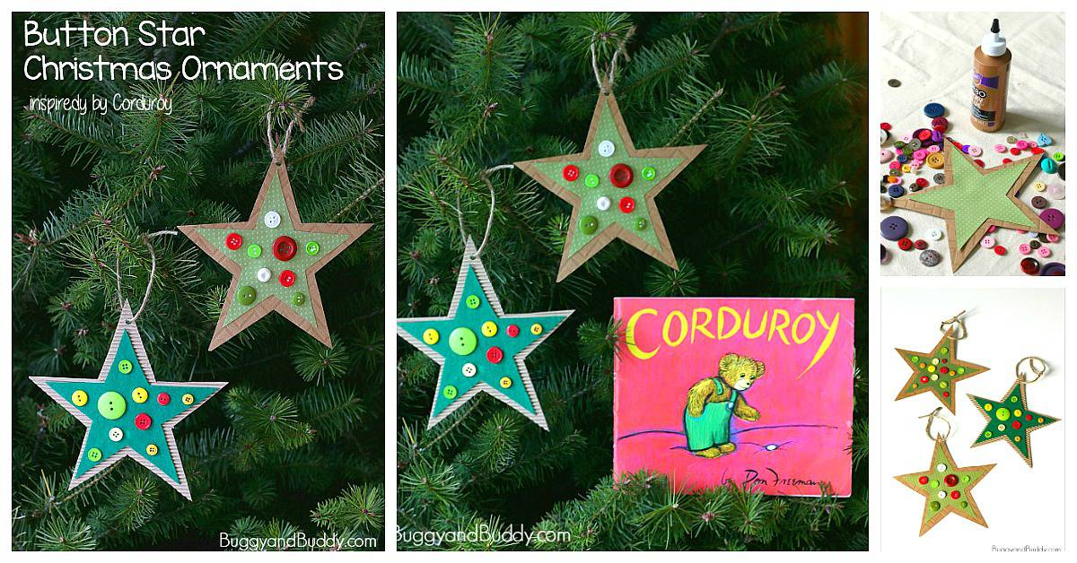 homemade button star christmas ornament craft for kids inspired by the childrens book corduroy