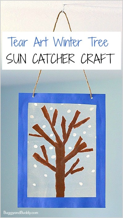 Winter Tree Suncatcher Craft Using Tear Art Buggy And Buddy