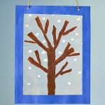 Winter Tree Suncatcher Craft Using Tear Art