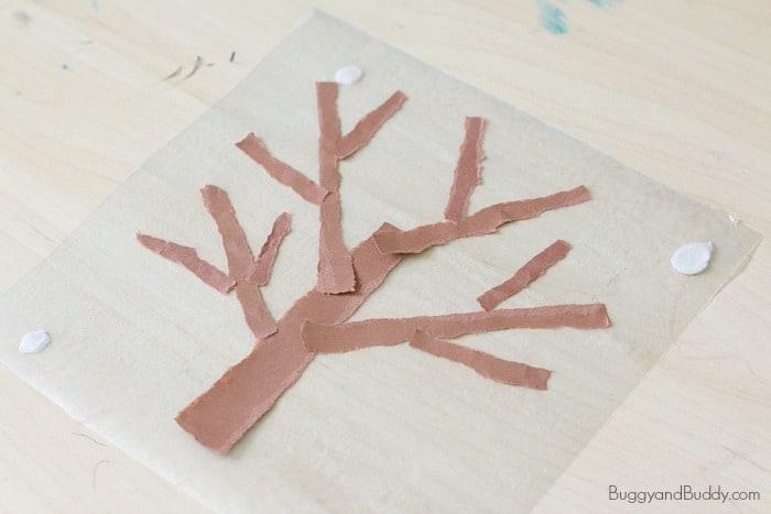 Cool Winter Craft for Kids: Winter Tree Tear Art Suncatcher