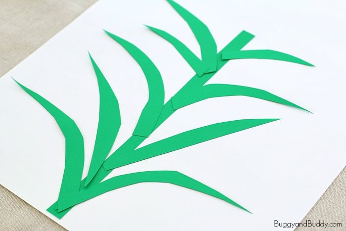 cut out construction paper leaves and stems