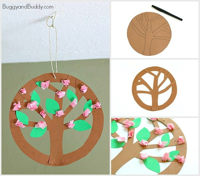 Hanging Tree Blossoms Flower Craft for Kids