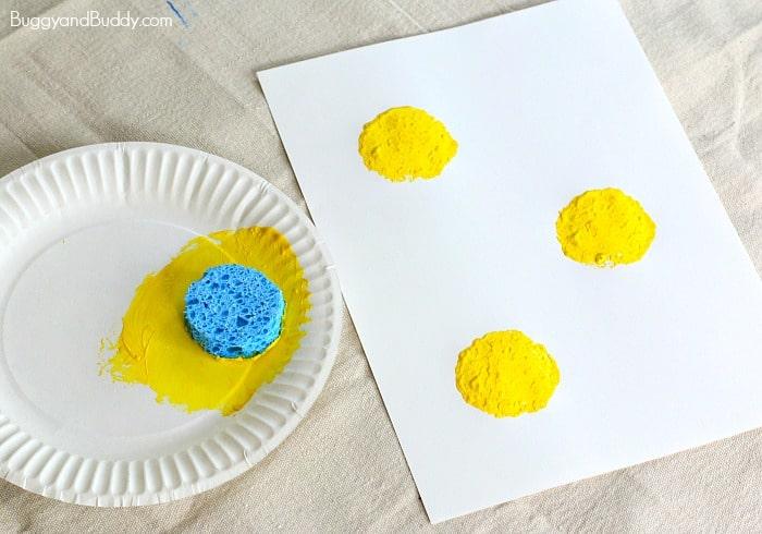 sponge stamped chicks preschool easter craft for kids