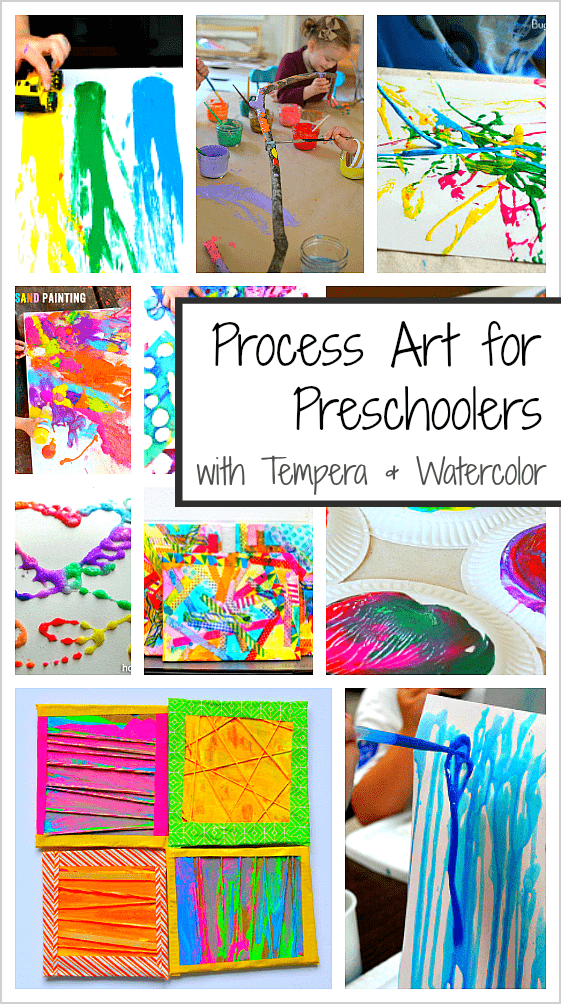 20+ Process Art Activities for Preschoolers using tempera and watercolor paints!