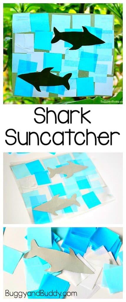 shark suncatcher craft for kids using tissue paper