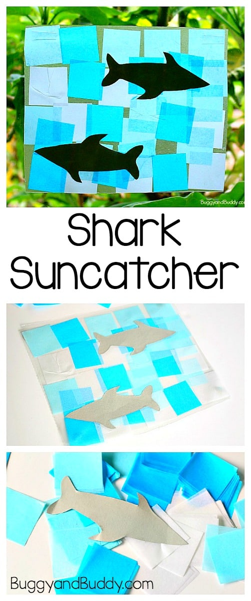 Shark Craft for Kids: Make a shark suncatcher using tissue paper and a FREE shark template. Great for an ocean unit or for shark week and perfect for toddlers, preschoolers, and on up! ~ BuggyandBuddy.com