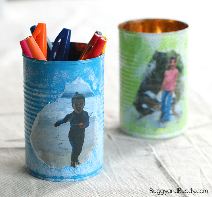 personalized tin can pencil holder craft for kids- perfect homemade gift for mother's day or father's day