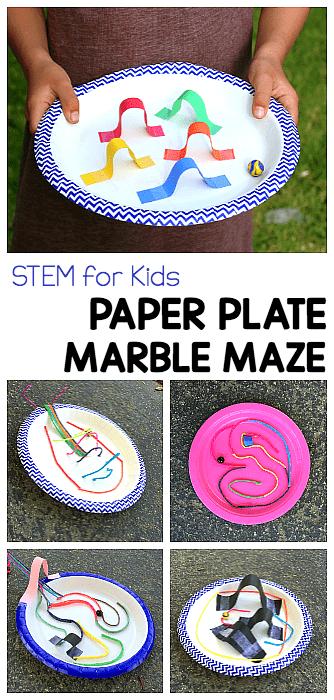 STEM CHALLENGE FOR KIDS: Design a paper plate marble maze
