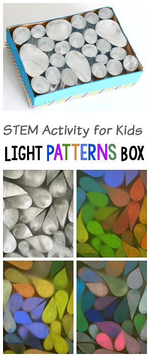 Reflection Science for Kids: Explore light patterns in a box with mirrors or mylar! Fun STEM or STEAM activity for kids!