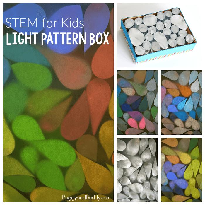 STEM / STEAM for Kids: Explore light patterns with a mylar light box.