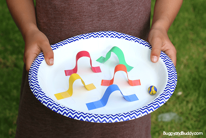 stem challenge for kids create a paper plate marble maze