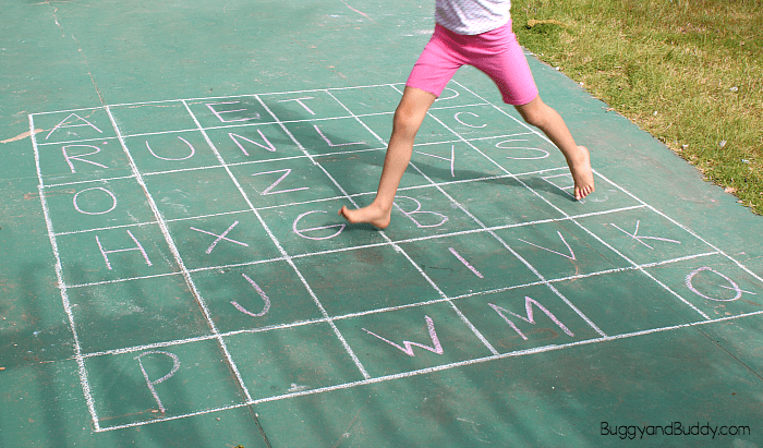 alphabet sidewalk chalk game