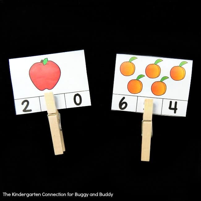 fruit themed count and clip cards for counting practice