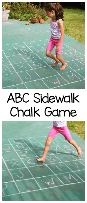 alphabet sidewalk chalk game for kids