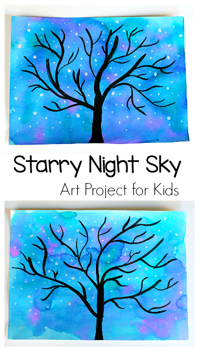 Starry Night Sky and Tree Art Activity for Kids