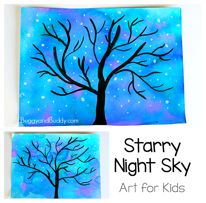 starry night sky art project for kids buggy and buddy