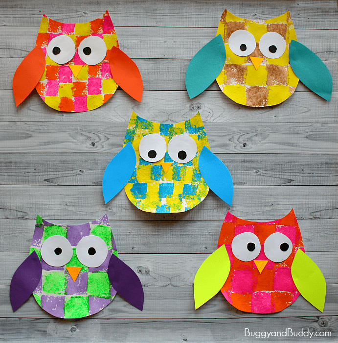 Sponge painted owl craft for kids with owl template for Sponge painting for kids pictures