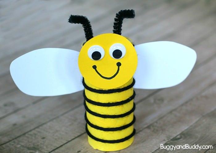 Cardboard Tube Bee Craft For Kids Using Yarn Buggy And Buddy