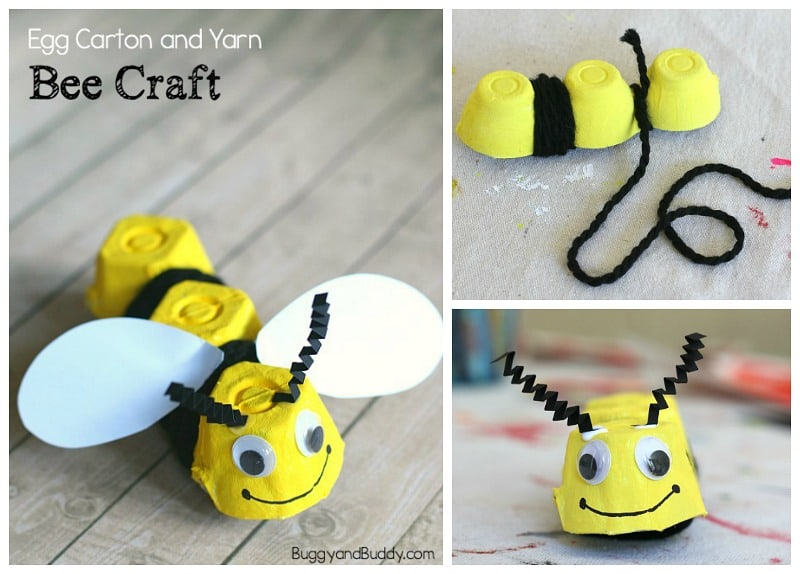 Yarn Wrapped Egg Carton Bee Craft For Kids Buggy And Buddy