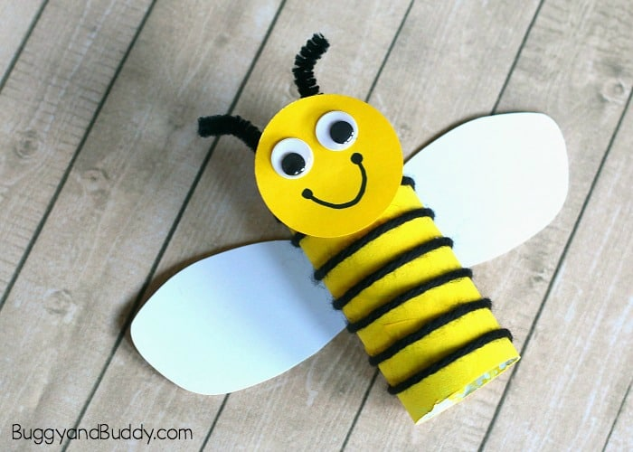 toilet paper roll bee craft for kids with yarn