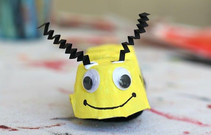 egg carton bee craft face