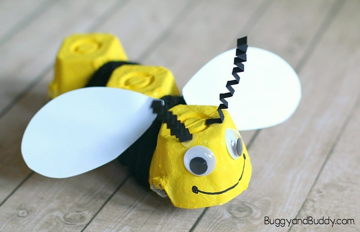 Yarn-Wrapped Egg Carton Bee Craft for Kids - Buggy and Buddy