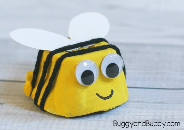 Egg Carton Crafts Part - 34: Bee Craft For Kids Using Egg Carton